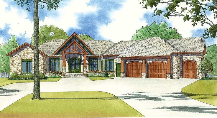 <ul><li>The front of this 4 bed (plus a bunk room) house plan has a rustic elegance to it. And the back of the home - with its covered and open decks - will blow you away! The use of large windows, stone, siding and timber posts combine to create a striking home.</li><li>The vaulted foyer opens to the vaulted great room and gives you views to the vaulted covered porch beyond. The great room has a fireplace flanked by built-ins and has outdoor access through four doors.</li><li>A built-in…
