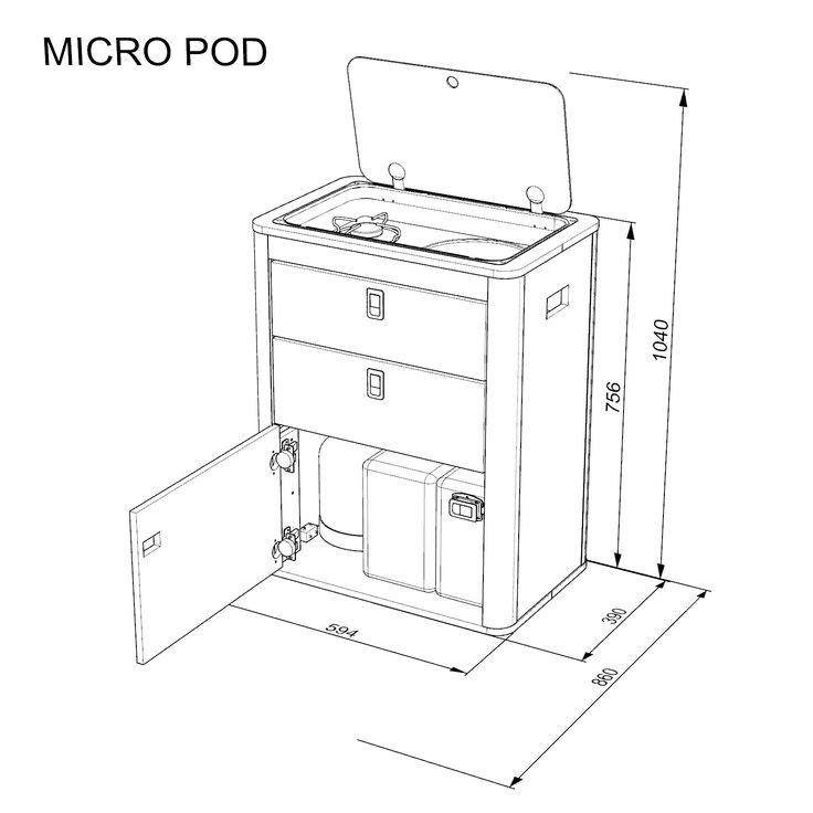 Kitchen pod flat pack for Diy construction.  Does not include appliances  Designed for:   	Can single burner sink  	CAN FL1323 sink hob  	2 x 10 litre bottles  	Excepts camping gas bottle …