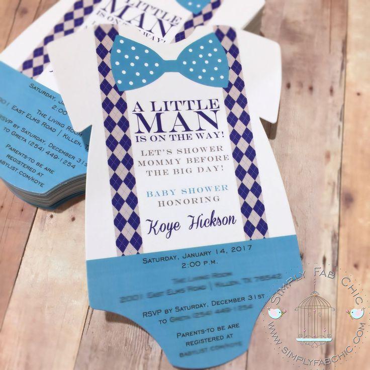 Baby Shower Little Man Bowtie Onesie Invitation / Diaper Invitation Cards / New Baby Announcement Cards / Baby Shower Invitation / Metallic
