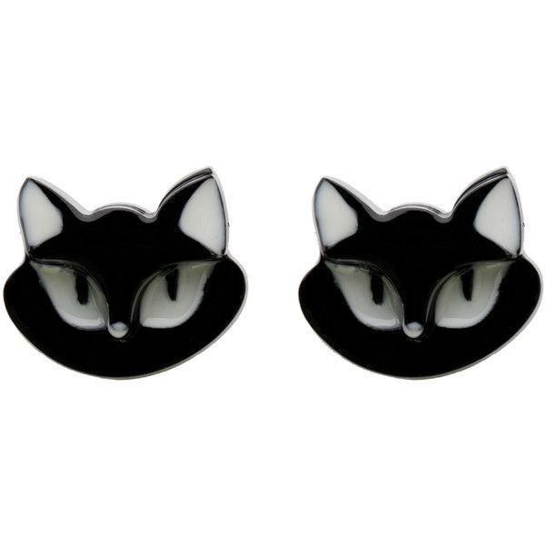 Erstwilder Black Carla Cat Resin Post Earrings found on Polyvore