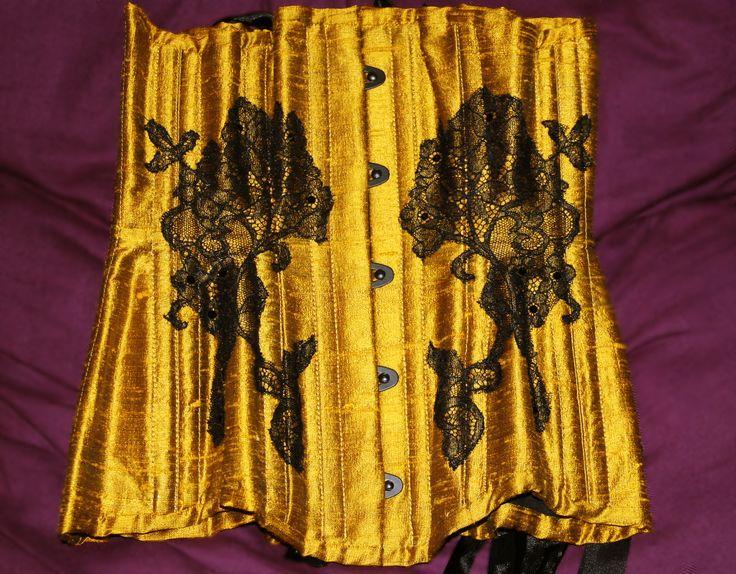 Underbust corset  by Vermilion Corsets   ( antique gold silk doupioni, black french lace, black busk, black (jet) crystals by Swarovski)