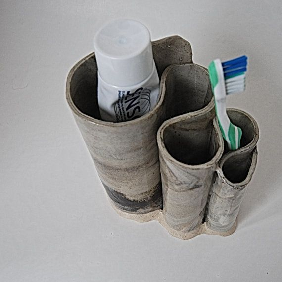 Toothbrush Holder Black and White Marble Pottery on Etsy, $33.84