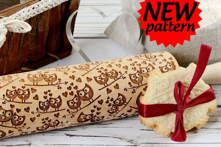 Embossing rolling pin -  Sweet Owls, Cookies decorating roller, Laser engraved rolling pin by AgnesWorld on Etsy