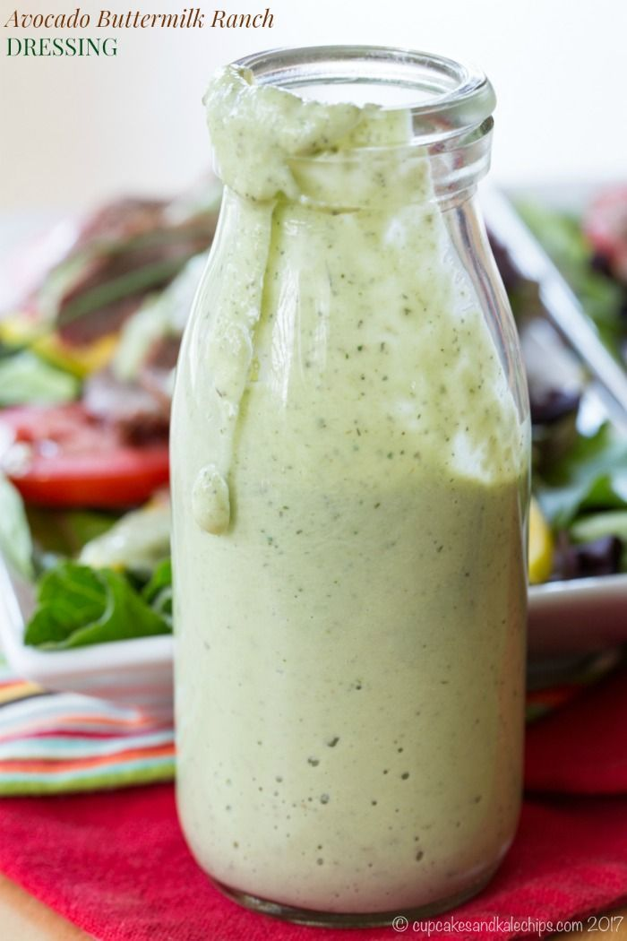 Avocado Buttermilk Ranch Dressing - an easy salad dressing recipe that's as delicious on greens and veggies as it is on grilled steak or chicken. Also makes a delicious dip.