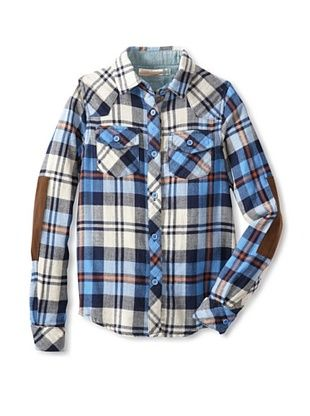 72% OFF Vintage Havana Girl's Plaid Shirt with Elbow Patch (Turq/Navy)