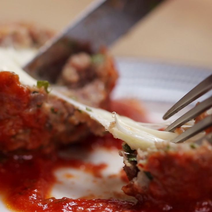 Mozzarella-Stuffed Slow Cooker Meatballs