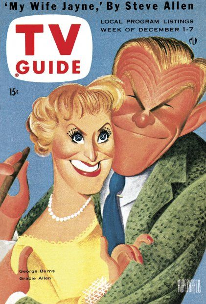 TV Guide December 1, 1956 - George Burns and Gracie Allen of The George Burns and Gracie Allen Show. Illustration by Al Hirschfeld.