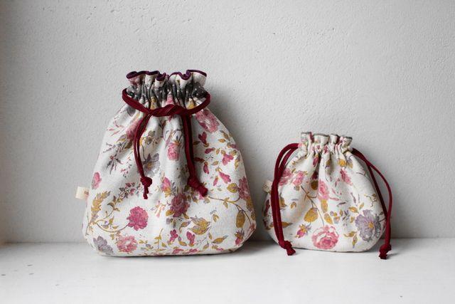 親子巾着セット(赤い花)