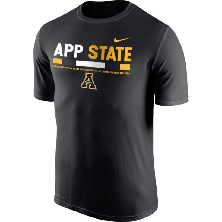 Nike Men's Appalachian State Mountaineers Football Staff Legend Black T-Shirt, Size: Medium, Team