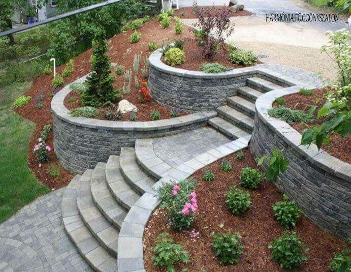 jardn plantas decoracin piedra escaleras