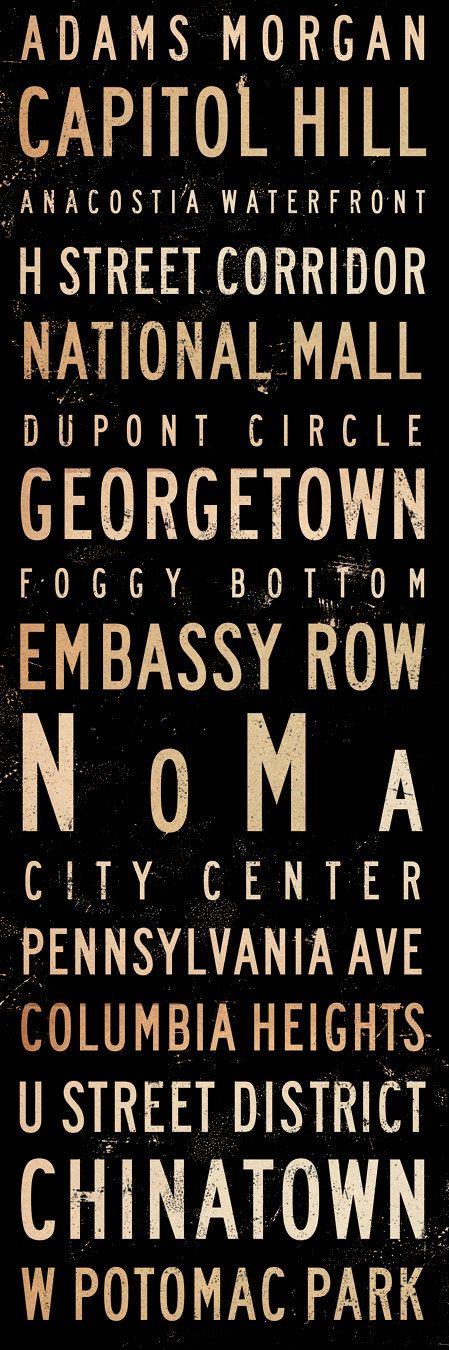 Washington DC neighborhoods typography graphic art by geministudio, $95.00