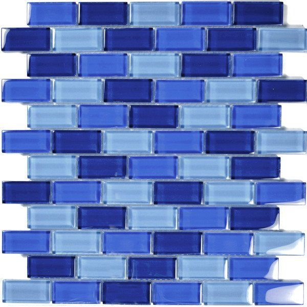 "Cobalt Blue Blend, 1"" x 2"" - Glass Tile"