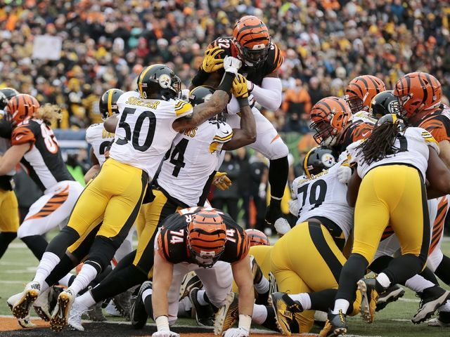 Bengals blow 14-point lead, lose 24-20 to Steelers. Bengals Jeremy Hill is stopped short of the goal line by Steelers D!