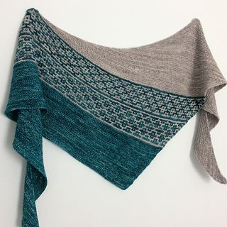 Shawl using Malabrigo Mechita, shown in Teal Feather and Sand Bank