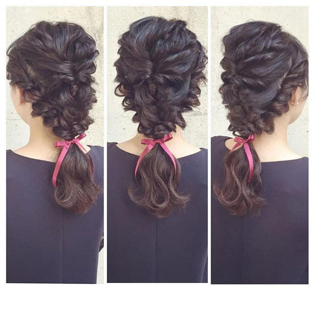 hairarrange♡ 黒髪でも綺麗に立体感や編み目を出せますよ♡  #ヘアアレンジ #ヘアセット #結婚式 #二次会 #ブライダル #ウェディング #東京 #表参道 #青山 #ヘアアクセサリー #黒髪