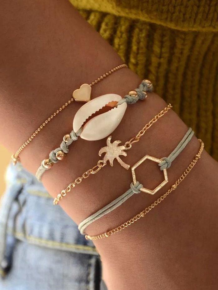 Five-piece Heart Shell Palm Tree Chain Bracelet Sets GOLD