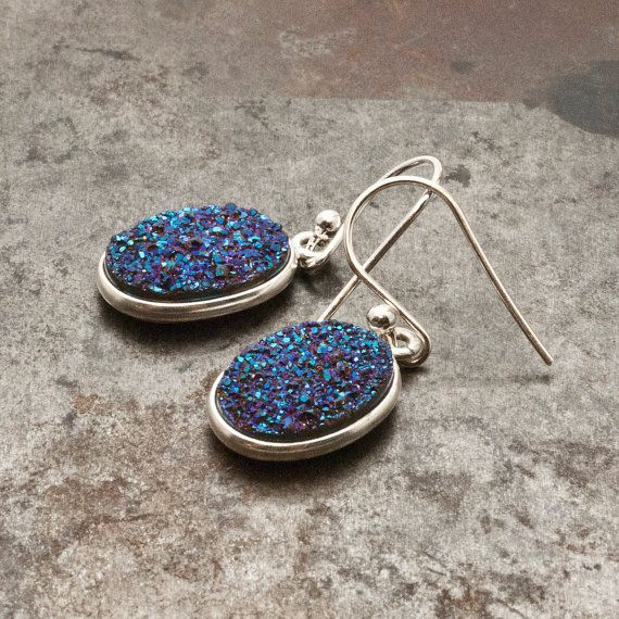 Druzy Earrings Silver Sparkly Blue Druzy Agate by PiscesAndFishes