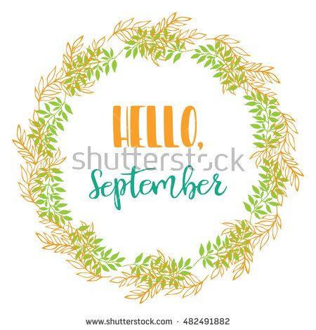 Hello, September. Vector Brush lettering Hello, September. Vector card design…