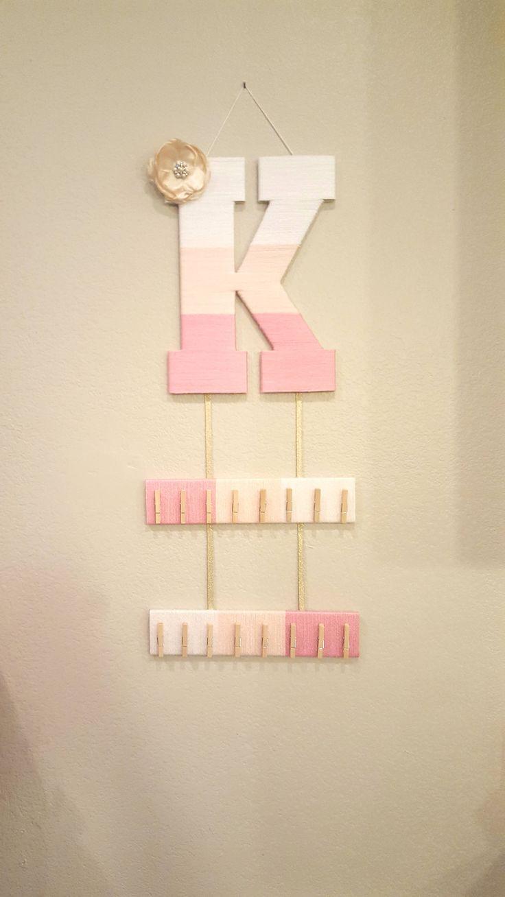 Vintage hair accessory holder - Hair Bow Holder Headband Holder Ombre Letter Pink Yarn Letter Nursery Letter K Custom Gold Bow Baby Door Hanger Girls Room Decor