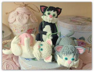 Figurina pentru tort cu pisicute jucause