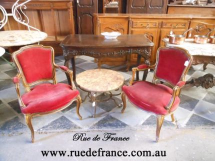 2 ANTIQUE FRENCH BEECH Fauteuil ARM  CHAIRS- LOUIS XV STYLE