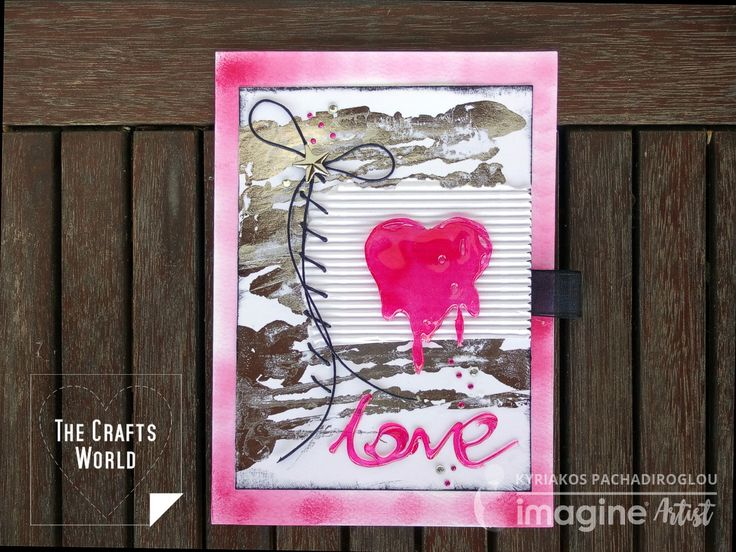 What else can make a heart melt than love. Vivid, bright color on heart shape and love word stand out of the metallic and white background. The heart shape is made of hot glue and colored with StazOn ink. The hot glue gun makes it easy to follow a heart pattern or create something free …
