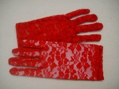 Lace Glove Short - Red