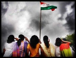 Indian girls saluting Flag of India