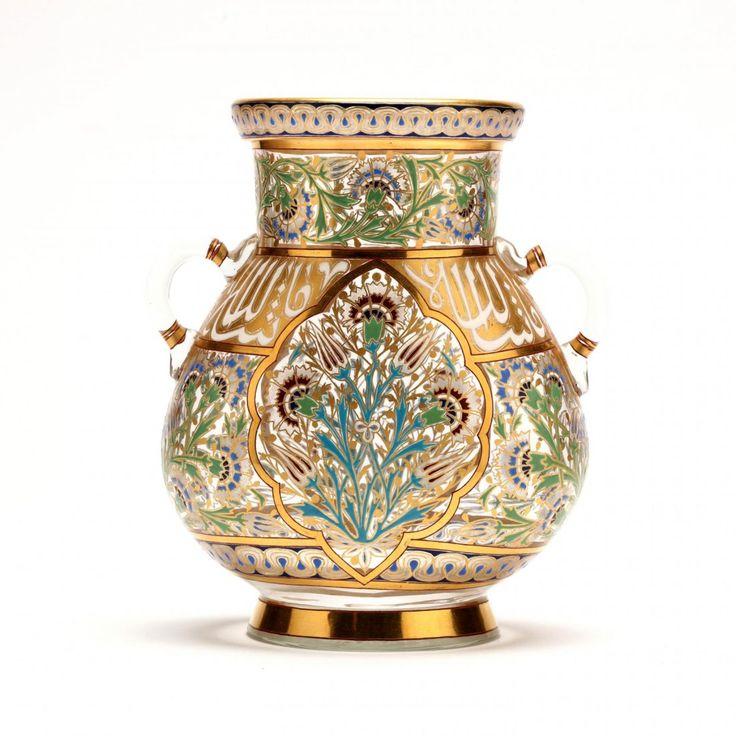 Lobmeyr, Persian Series Enameled and Gilt Glass Vase.