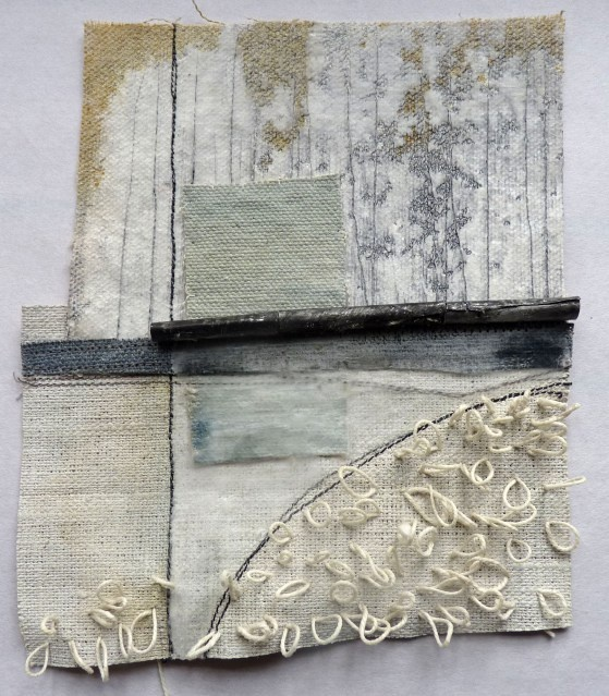 Small Marshscape - Pale Blue Rectangle: cloth, stitch, wax -by Debbie Lyddon