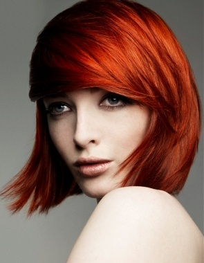 A short red straight coloured choppy Modern hairstyle by Beverly C