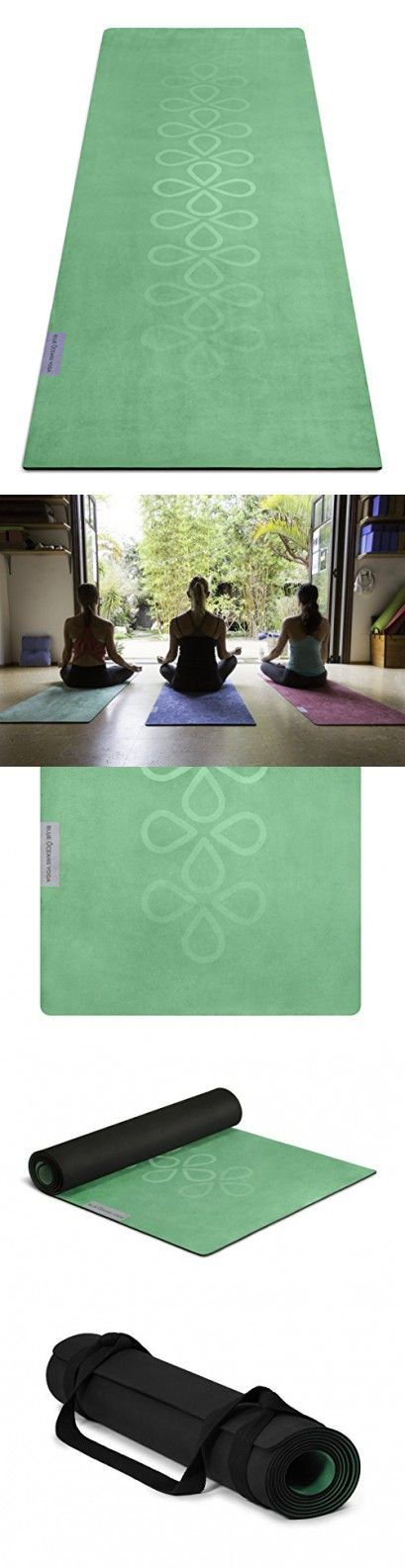 Blue Oceans Yoga - Bikram yoga mat and towel combo 4.5mm / 2-in-1 product / extra sticky, thick, anti-slip multi-purpose mat / free carrying strap