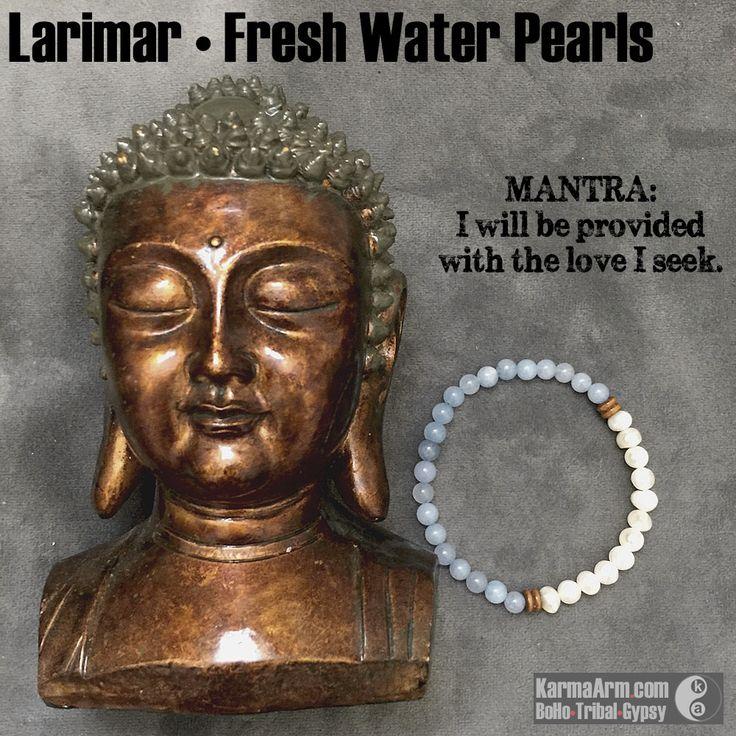 SOULMATE: Larimar   White Pearl Yoga Mala Bead Bracelet – Bracelets ॐ Grey Natural Gemstones • Reiki Charged // Energy / Men's & Women's / Karma Arm