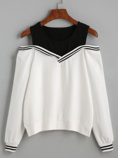 Varsity Striped Contrast Open Shoulder Sweatshirt -SheIn(Sheinside) Mobile Site