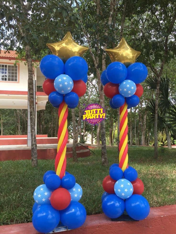 Súper héroes decoración con globos, Super heros balloons decorations, Wonder woman Party ideas, Wonder woman birthday Party balloons decorations, mujer maravilla decoración con globos