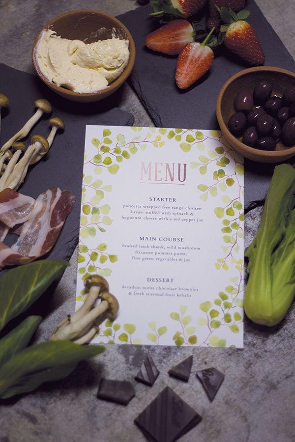 Free Printable Wedding Menu with Watercolors | Susan Brand on @limnandlovely via @aislesociety