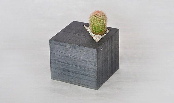 Concrete cube succulent planter by LAbCfurniture on Etsy, $95.00