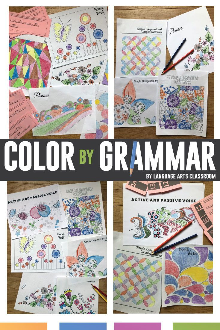 Study complex grammar concepts with color by grammar! These grammar lessons cover active and passive voice, types of sentences, phrases, and more. #grammar #grammareveryday