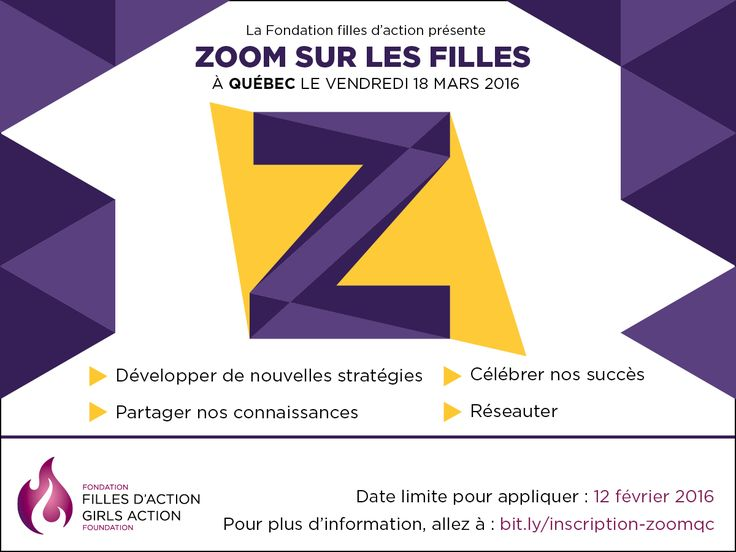 La Fondation filles d'action sera de passage à Québec pour notre événement régional Zoom sur les filles, le 18 mars prochain! Vous avez jusqu'au 12 février pour vous inscrire, les places sont limitées. Cliquez ici pour plus d'info : http://bit.ly/zoom-sur-les-filles #zoomqc