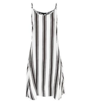 White Vertical Stripe Strappy Midi Dress
