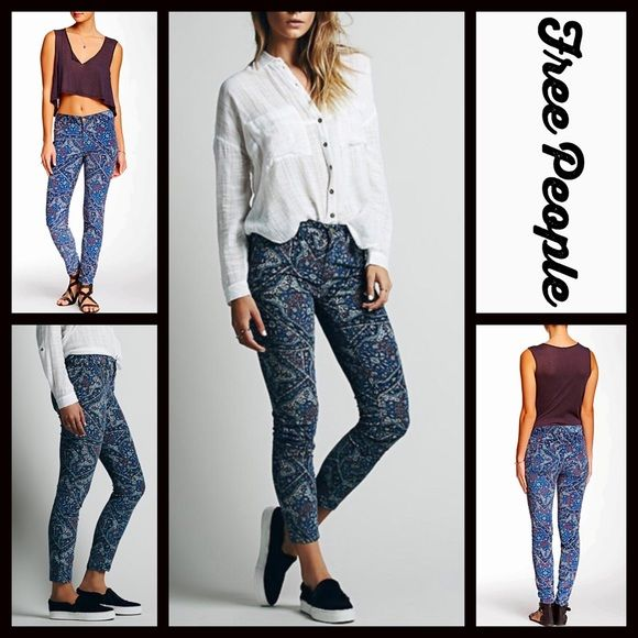 "FREE PEOPLE Skinny Print Cord Pants Hi Rise Jeans  NEW WITH TAGS   FREE PEOPLE Skinny Print Cord Pants Hi Rise Jeans * A super soft cord-like & stretch-to-fit fabric  * 5-pocket style w/button & zip closure & belt loops * Allover tapestry print in jewel & blue tones * Inseam is about 29"" & front rise is about 9"" for size 27"" * Fitted legs * Tagged Size 29"" (Will approx fit Sizes 6-8, size M).   Fabric: Cotton & spandex blend Color: Black Combo  No Trades ✅ Fair Offers Considered*✅ *Please…"