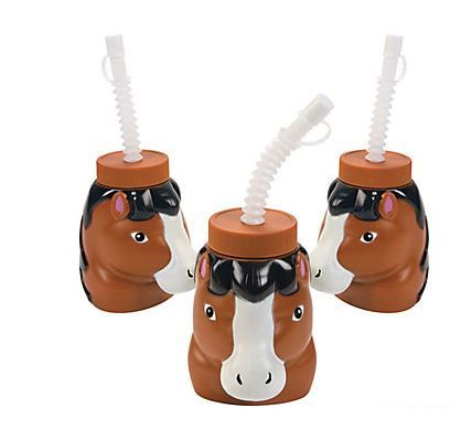 Mare & Foal Shaped Cups (with straws) (1).  Pony and horse lovers alike will love these unique drink containers! These Mare & Foal shaped Cups With Lids & Straws are perfect for a western, pony or barnyard party - just the thing for just about any themed event. Serve cool drinks with these fun plastic cups!  Price is per (1) cup  approx: 10.2cm with a 19.1 cm straw.