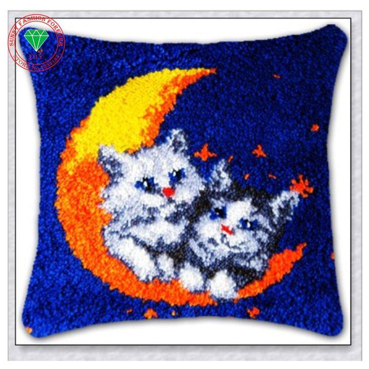 cushion embroidery pillow Rug kits carpet cushion embroidery cushion pillowcase stitch mat home carpet latch hook rug kits diy #Affiliate