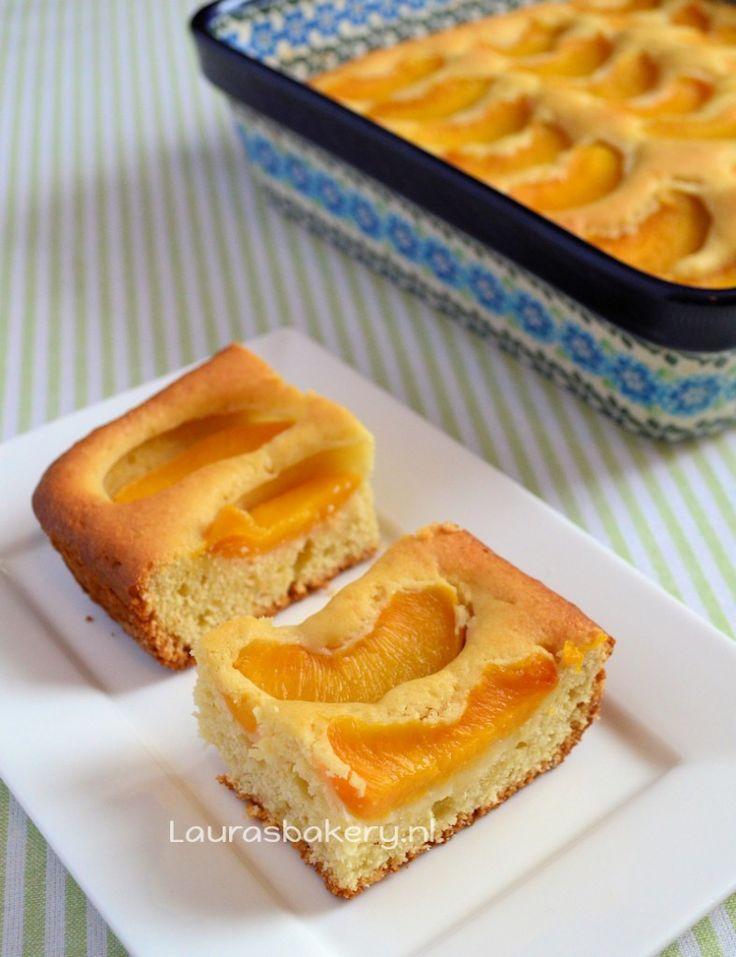 Perzik plaatcake - Laura's Bakery Bij mij op 180 graden 90 minuten Vorm 17 bij 24