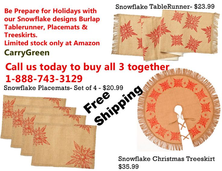Holiday Season- Tablerunner, Placemats & Tree-skirt- Snowflake designs only at Amazon- CarryGreen- Free shipping