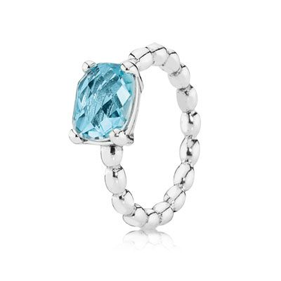 PANDORA's sterling silver ring with a large stunning blue topaz gemstone is a gorgeous piece on its own or stacked with other rings for a more personalized look. #PANDORAring