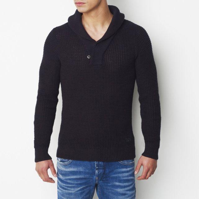 Pull Homme La Redoute promo pull pas cher, achat Pull col châle pur coton G Star prix promo La Redoute 99.90 € TTC