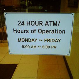 Larry from Armonk, New York noticed that this sign near his workplace seemed a bit contradictory. Perhaps they meant 24 hours a week?!
