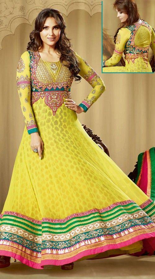 Yellow Bollywood Fashion Anarkali Suit 3H60509