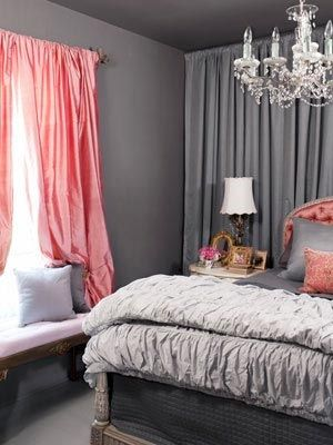 Gray bedroom. Would substitute pink with Red, Green, Purple or Yellow. I'm